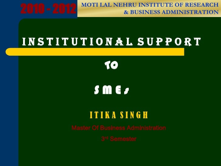 I nstitutional support to SMEs