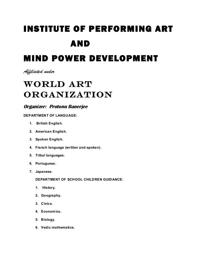 Institute of performing art and mind power development