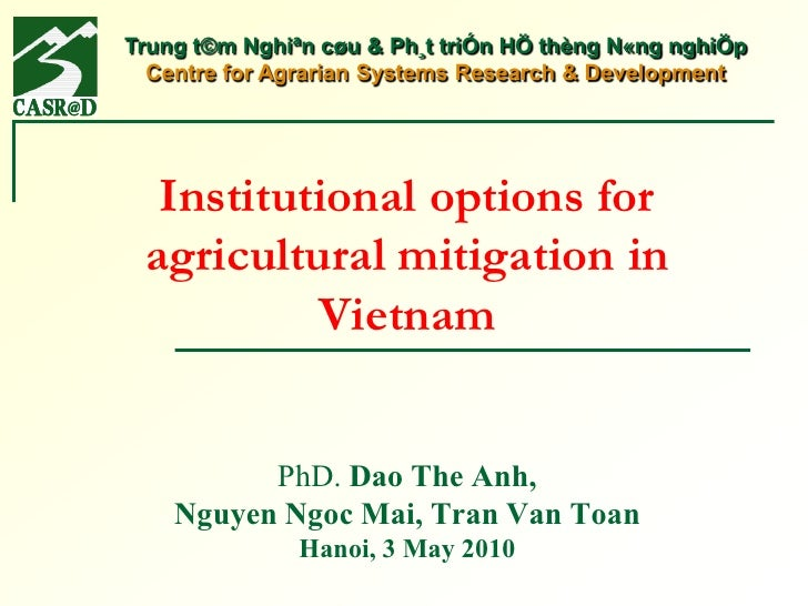 Institutional options for agricultural mitigation in Vietnam