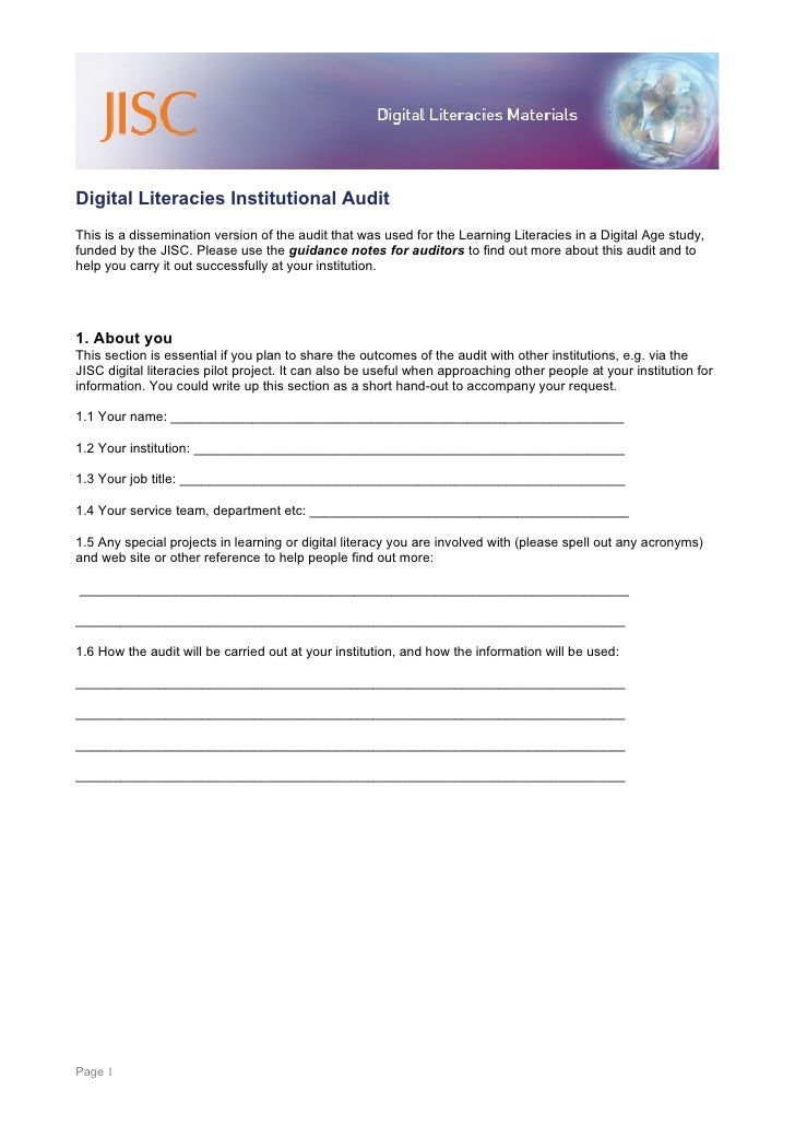 Digital Literacies Institutional Audit This is a dissemination version of the audit that was used for the Learning Literac...