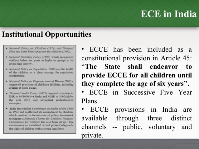 history and evolution of ecce in Children's language and cognitive development during the early years  this,  the separate histories and traditions of early childhood 'care' programs and.
