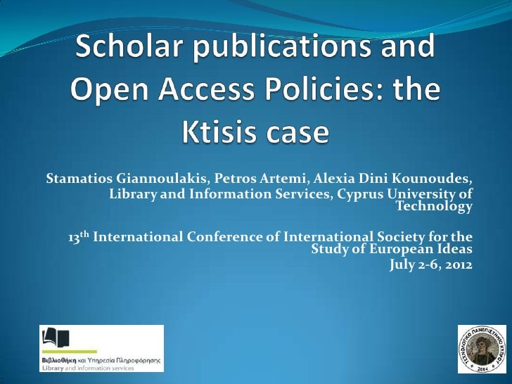 Scholar publications and open access policies: the Ktisis case