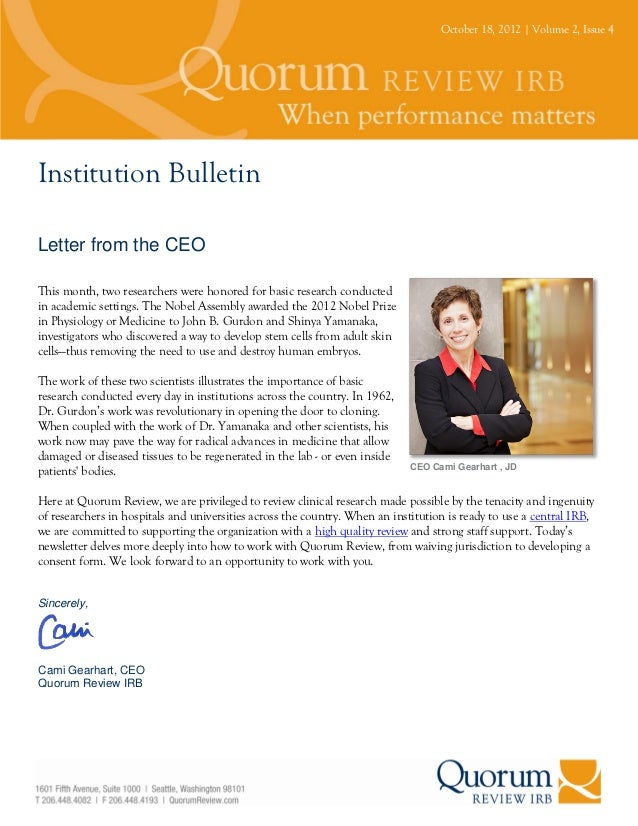 October 18, 2012 | Volume 2, Issue 4Institution BulletinLetter from the CEOThis month, two researchers were honored for ba...