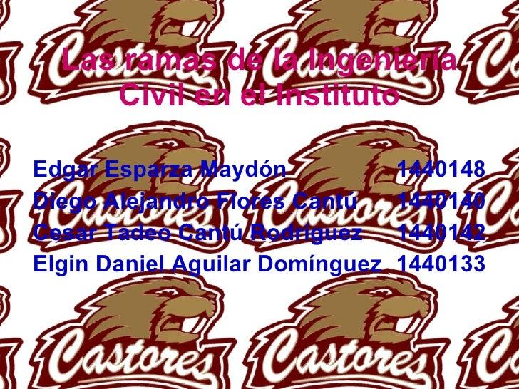 Las ramas de la Ingeniería Civil en el Instituto Edgar Esparza Maydón 1440148 Diego Alejandro Flores Cantú 1440140 Cesar T...