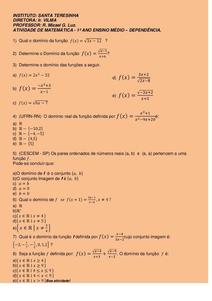 INSTITUTO: SANTA TERESINHA<br />DIRETORA: Ir. VILMA<br />PROFESSOR: R. Mizael G. Luz.<br />ATIVIDADE DE MATEMÁTICA - 1º AN...