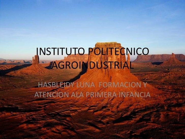 INSTITUTO POLITECNICO   AGROINDUSTRIAL HASBLEIDY LUNA FORMACION YATENCION ALA PRIMERA INFANCIA
