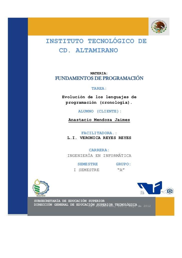 INSTITUTO TECNOLÓGICO DE         CD. ALTAMIRANO                             MATERIA:           FUNDAMENTOS DE PROGRAMACIÓN...