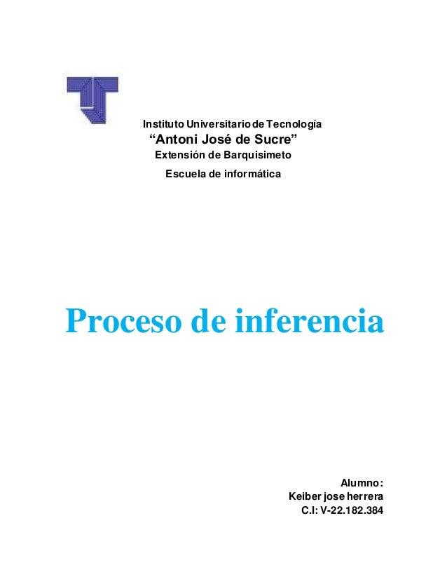 """Instituto Universitariode Tecnología """"Antoni José de Sucre"""" Extensión de Barquisimeto Escuela de informática Proceso de in..."""