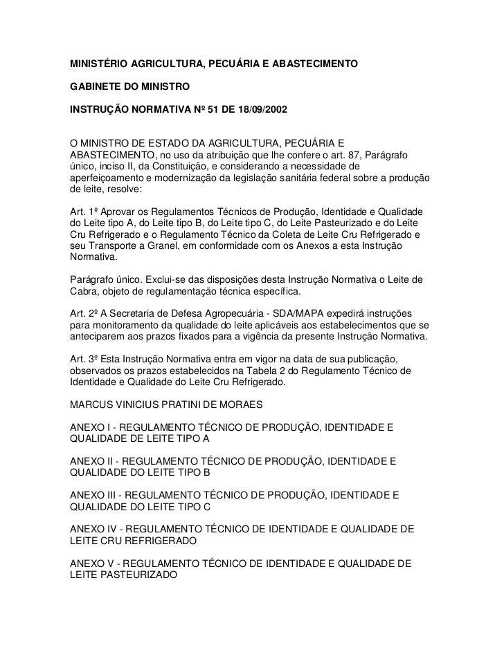 Instrução Normativa 51