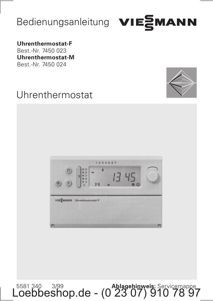 Bedienungsanleitung  Uhrenthermostat F Best. Nr. 7450 023 Uhrenthermostat M Best. Nr. 7450 024     Uhrenthermostat     558...