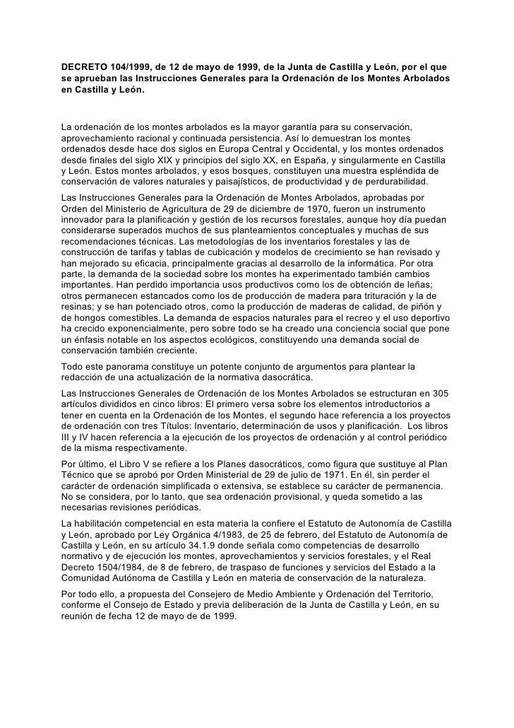 DECRETO 104/1999, de 12 de mayo de 1999, de la Junta de Castilla y León, por el que se aprueban las Instrucciones Generale...