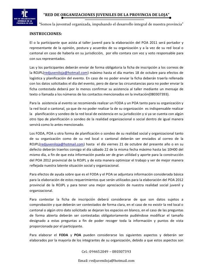 Indicaciones para elaborar FODA y POA