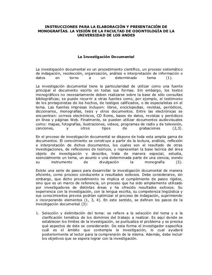INSTRUCCIONES PARA LA ELABORACIÓN Y PRESENTACIÓN DE MONOGRAFÍAS. LA VISIÓN DE LA FACULTAD DE ODONTOLOGÍA DE LA            ...