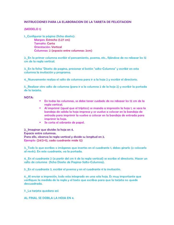 INSTRUCCIONES PARA LA ELABORACION DE LA TARJETA DE FELICITACION<br />(MODELO 1)<br />1._Configurar la página (ficha diseño...
