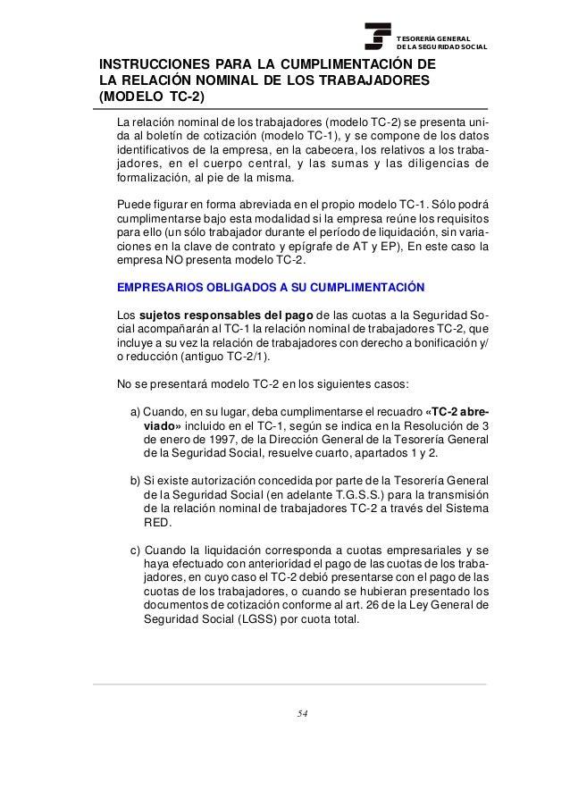 TESORERÍA GENERAL                                                          DE LA SEGURIDAD SOCIALINSTRUCCIONES PARA LA CUM...