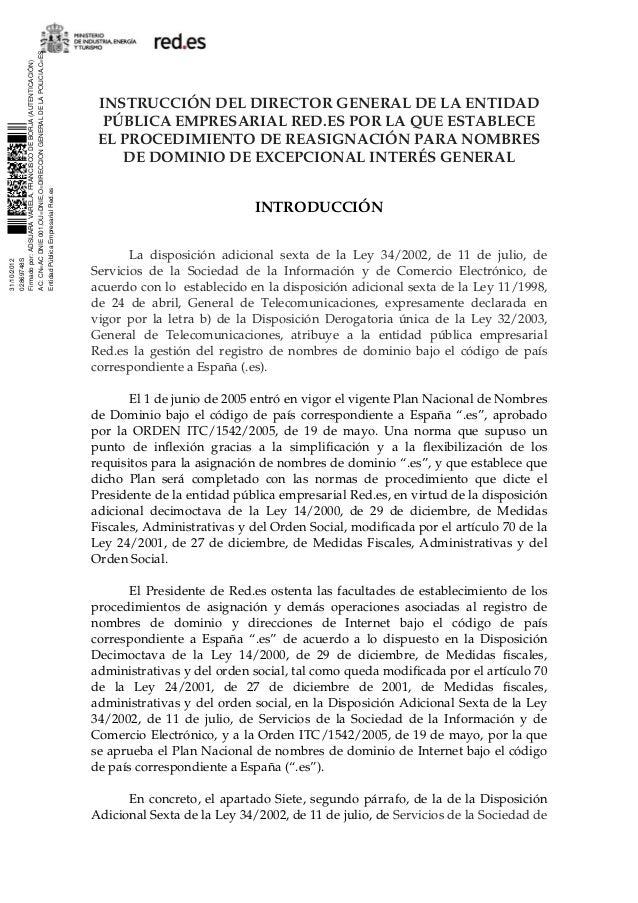 Instrucción resasignación / expropiación dominios .es