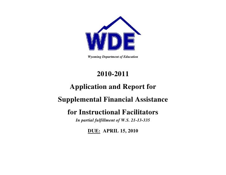 Instructional Facilitator Application/Report - Wyoming Department ...