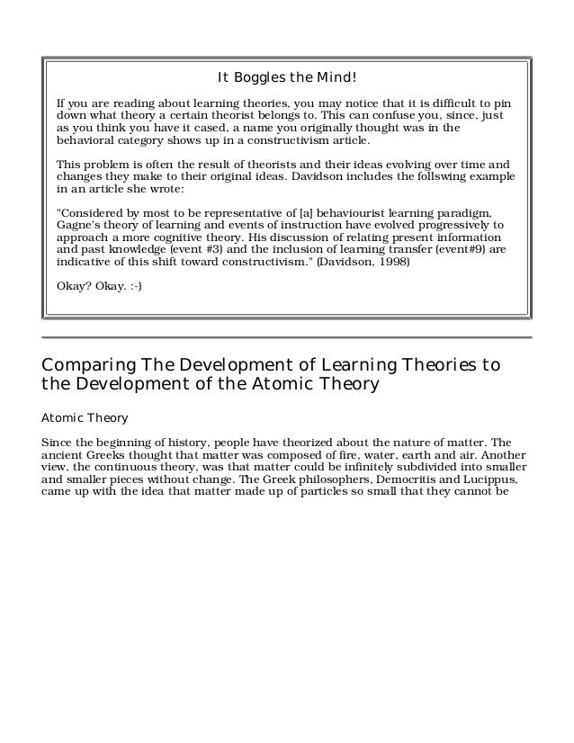 constructivist theory teaching theory essay This eric digest examines the constructivist view of learning  von glaserfeld ( 1993) calls constructivism a theory of knowing, as opposed to a theory of  knowledge from his view it is  essays on constructivism and education  maryland.
