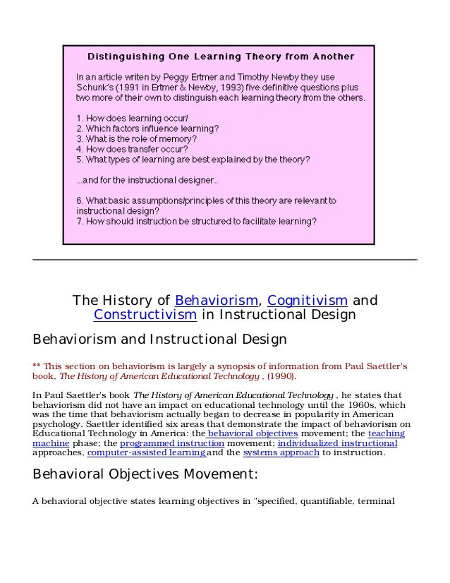 cognitivism psychology and instructional design theories