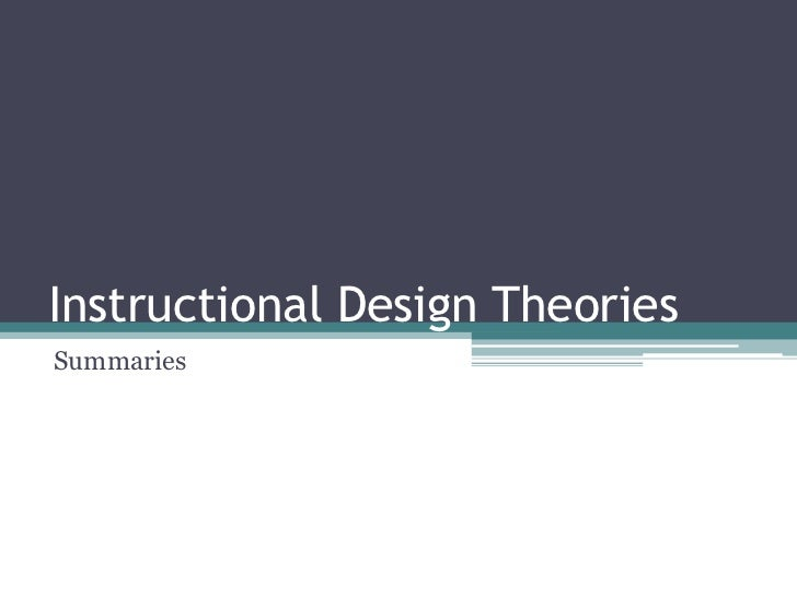 Instructional Design TheoriesSummaries