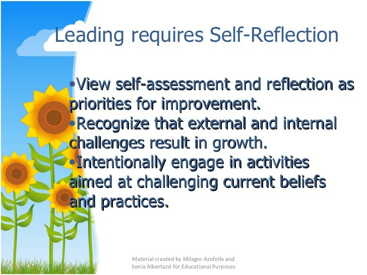 reflection about instructional leadership The question sets below accompany the five stories of science instructional leadership from bridget, penny, megan, hyatt and reva read the introduction and each story, then use the self-reflection questions below to guide your thinking for professional learning in science leadership print the questions.
