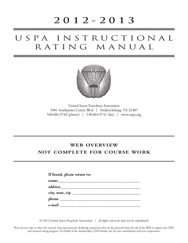 Instructional rating course uspa