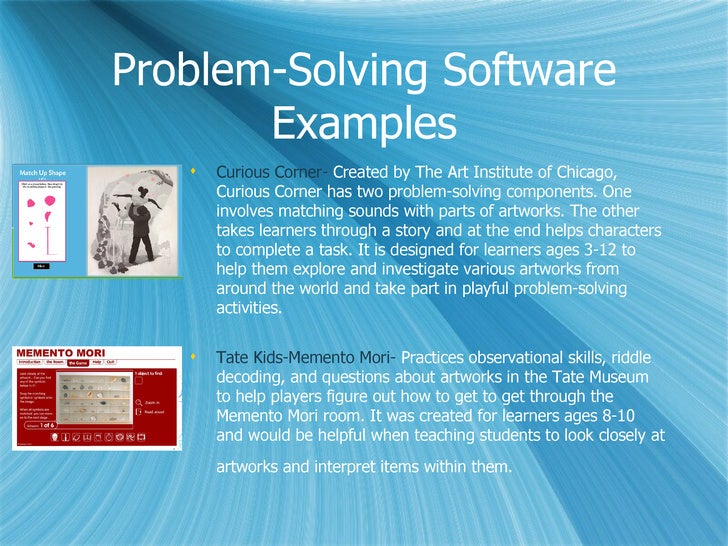 Examples of solving problems