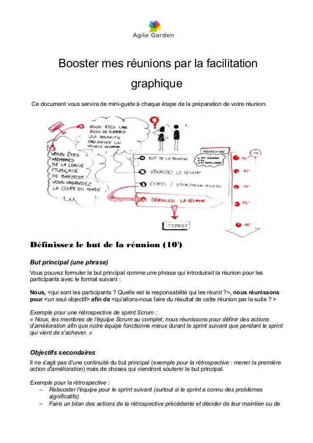 Booster mes réunions par la facilitation graphique Ce document vous servira de mini-guide à chaque étape de la préparation...