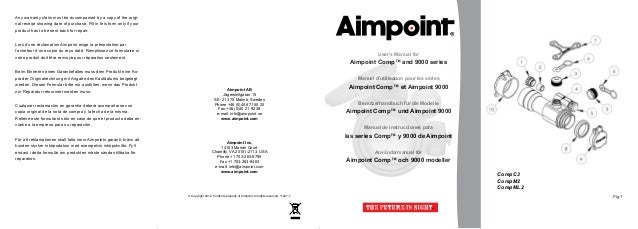 Instructions AIMPOINT Comp C3, M2, ML2 and 9000 Series