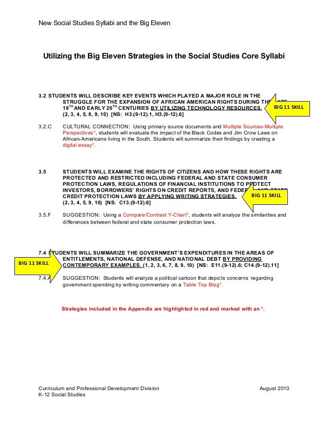 New Social Studies Syllabi and the Big Eleven Utilizing the Big Eleven Strategies in the Social Studies Core Syllabi 3.2 S...
