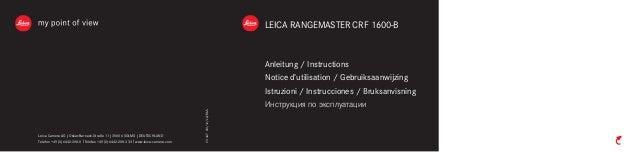 LEICA RANGEMASTER CRF 1600-B  Anleitung / Instructions  Notice d'utilisation / Gebruiksaanwijzing  Istruzioni / Instruccio...