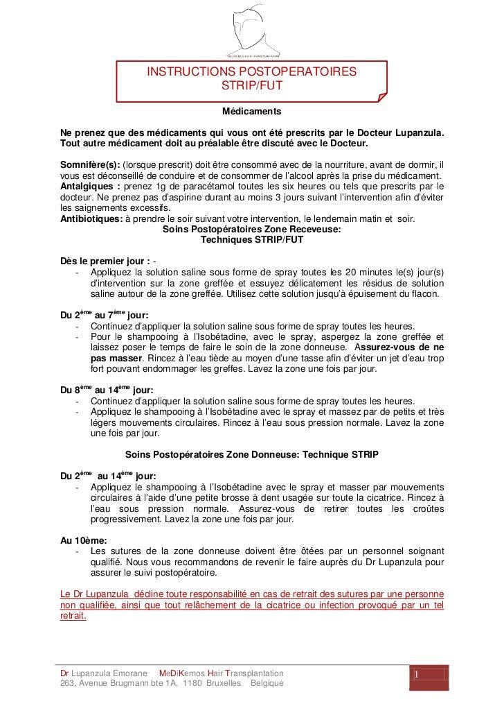 INSTRUCTIONS POSTOPERATOIRES                               STRIP/FUT                                       MédicamentsNe p...