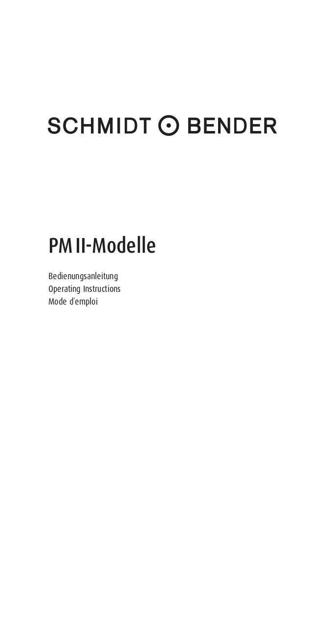 PM II-Modelle Bedienungsanleitung Operating Instructions Mode d´emploi