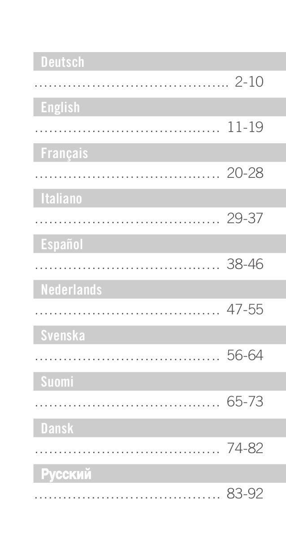 Deutsch ………………………………….. 2-10 English …………………………….….. 11-19 Français …………………………….….. 20-28 Italiano …………………………….….. 29-37 E...