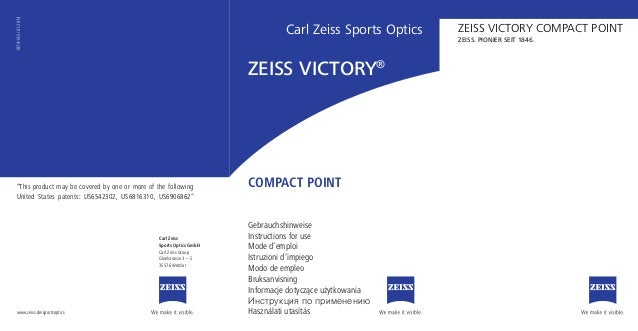 Carl Zeiss Sports Optics Gebrauchshinweise Instructions for use Mode d'emploi Istruzioni d'impiego Modo de empleo Bruksanv...