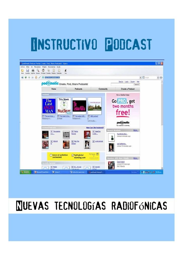 Instructivo Podcast     Nuevas tecnologías radiofónicas