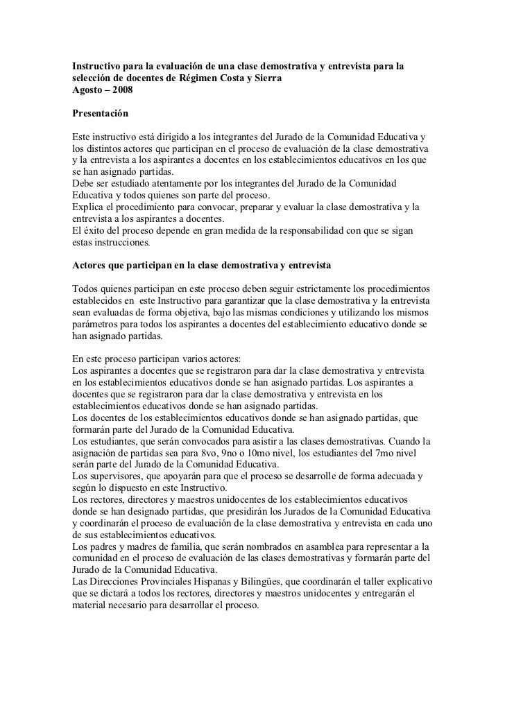 Instructivo para la evaluación de una clase demostrativa y entrevista para la selección de docentes de Régimen Costa y Sie...