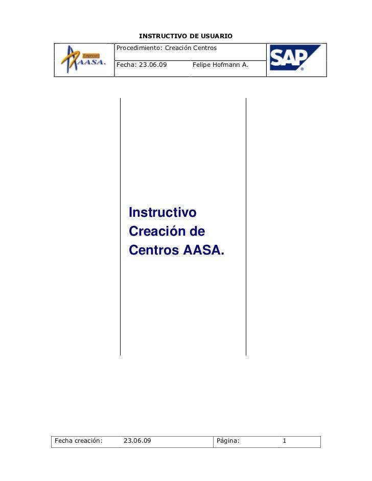 Instructivo creacion de centros