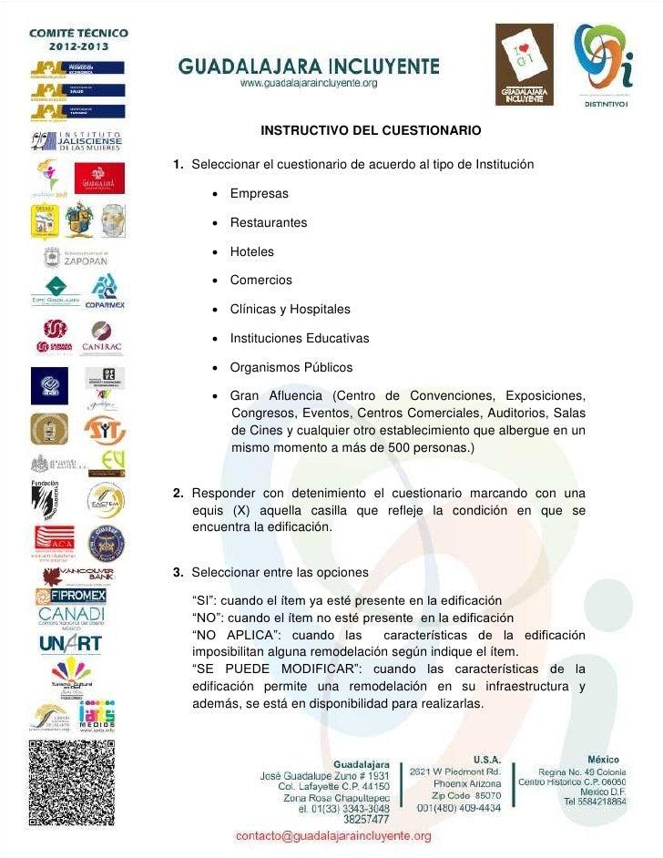 INSTRUCTIVO DEL CUESTIONARIO1. Seleccionar el cuestionario de acuerdo al tipo de Institución       Empresas       Restau...