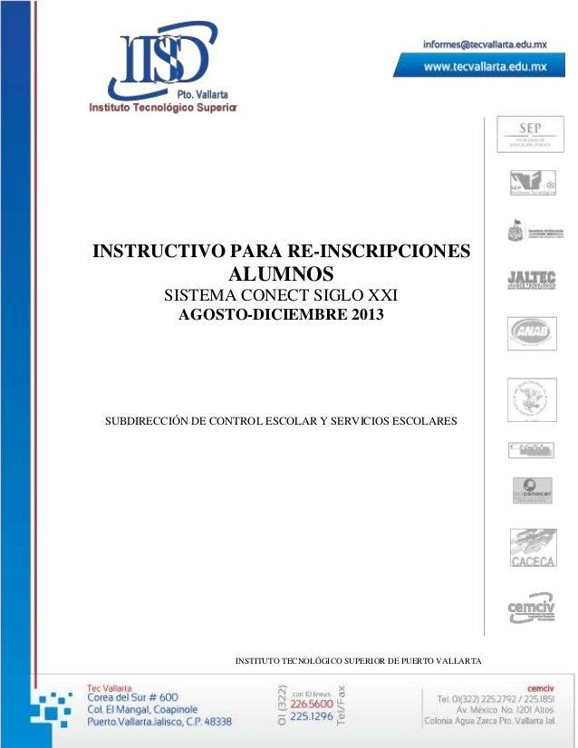 Instructivo de re inscripciones agosto-diciembre 2013