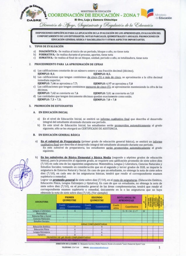 Instructivo de evaluación quimestral actual 2012- 2013