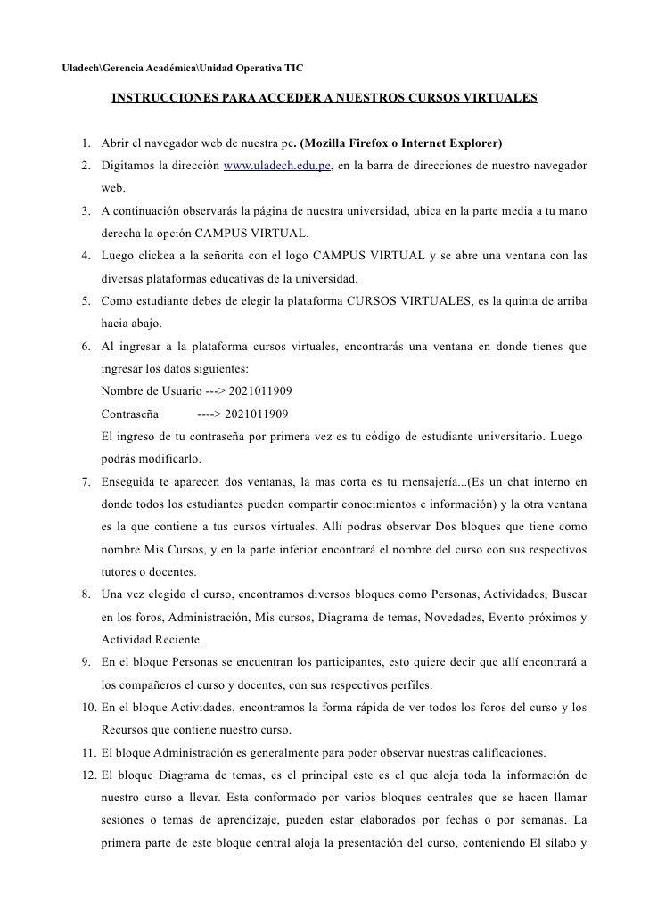 UladechGerencia AcadémicaUnidad Operativa TIC           INSTRUCCIONES PARA ACCEDER A NUESTROS CURSOS VIRTUALES      1. Abr...