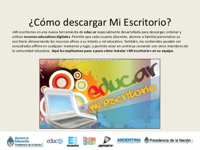 Instructivo para descargar «Mi escritorio»