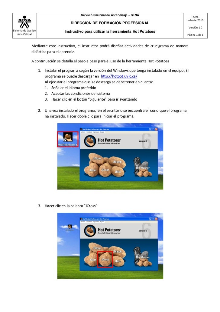 Instructivo para utilizar HotPotatoes