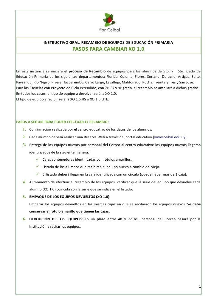INSTRUCTIVO GRAL. RECAMBIO DE EQUIPOS DE EDUCACIÓN PRIMARIA                                    PASOS PARA CAMBIAR XO 1.0En...
