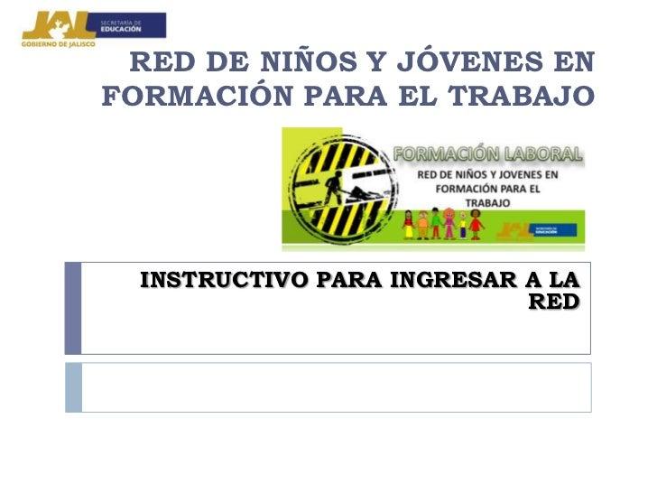 RED DE NIÑOS Y JÓVENES ENFORMACIÓN PARA EL TRABAJO  INSTRUCTIVO PARA INGRESAR A LA                            RED