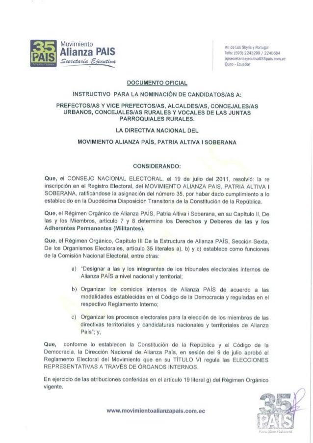MOVIMIENTO ALIANZA PAÍS CRONOGRAMA NOMINACIÓN DE CANDIDATOS/AS ELECCIONES 2014