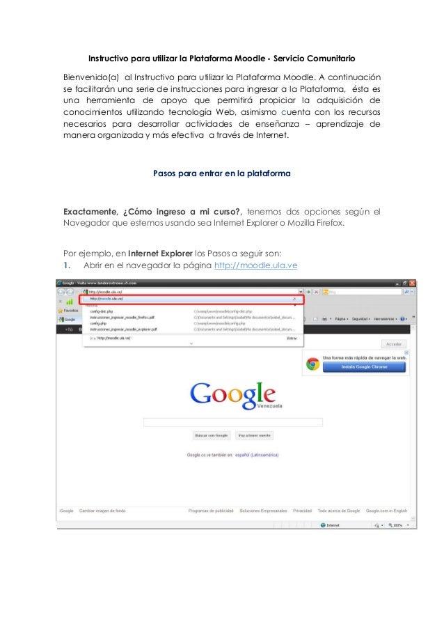 Instructivo para utilizar la Plataforma Moodle - Servicio ComunitarioBienvenido(a) al Instructivo para utilizar la Platafo...