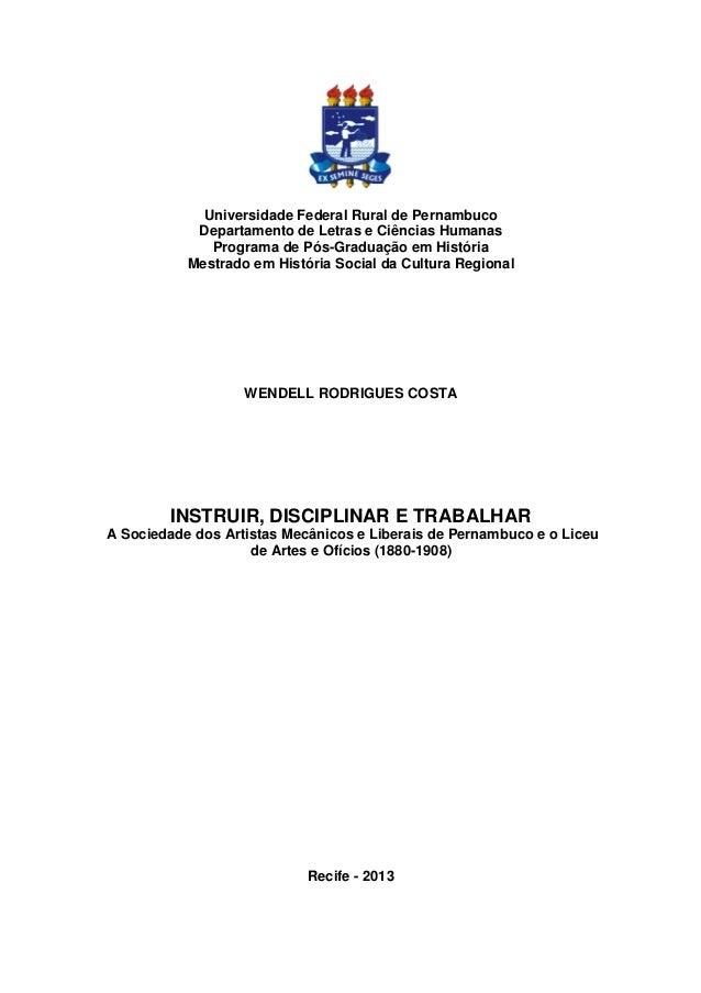 Universidade Federal Rural de Pernambuco Departamento de Letras e Ciências Humanas Programa de Pós-Graduação em História M...