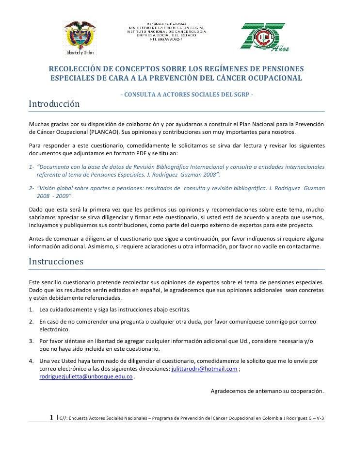 RECOLECCIÓN DE CONCEPTOS SOBRE LOS REGÍMENES DE PENSIONES        ESPECIALES DE CARA A LA PREVENCIÓN DEL CÁNCER OCUPACIONAL...